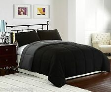 BLACK/GREY - 3pc Reversible Down Alternative Comforter Set TWIN FULL/QUEEN, KING