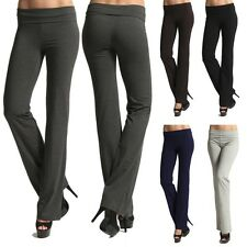 MOGAN Sleek Foldover Stretch YOGA PANTS Comfy Casual Long Sweat Tracksuit Pants