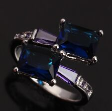 Blue Sapphire IMPLICIT Topaz Amethyst Gems Silver Rings US#Size5 6 7 8 9 T0014