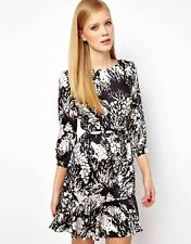 KAREN MILLEN SATIN SILK FLORAL PRINT EVENING COCKTAIL PARTY SMART DRESS & BELT