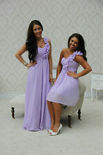 1 SHOULDER BRIDESMAID DRESS PROM EVENING CHIFFON LILAC LONG & SHORT SIZE 8-20