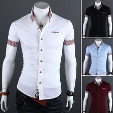 2014 Mens Luxury Casual Slim fit Stylish Dress Short Sleeve Shirt 4Colors 4Size