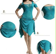 New Style Mesh Blouse and Skirt 2 pcs set Belly Dance Costumes Dancewear 5 color
