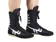 1Pair Genuine Leather breathable Black Boxing /wrestling training  boots shoes