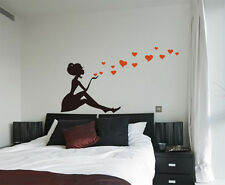 Girl with Hearts Art Vinyl Wall Sticker, Home DIY Wall Decal - HIGH QUALITY