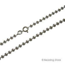 925 Sterling Silver 3mm Bead Ball Link Chain Necklace Bolt Clasp All Lengths