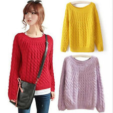 Women's Fashion Crewneck Long Sleeves Pullover Sweater Knitted Top Yellow Red