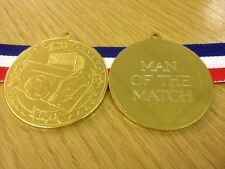 PACKS OF 10,15 OR 20 QUALITY MAN OF THE MATCH 50mm FOOTBALL MEDALS & RIBBONS