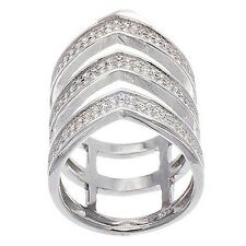 NEW 14K WHITE GOLD VERMEIL Pave V Style Open CZ Knuckle Ring-Band-925