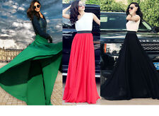 WOMEN FULL SWEEP MAXI DOUBLE-LAYERED CHIFFON FULL LENGTH LONG SKIRT MULTI-COLOR