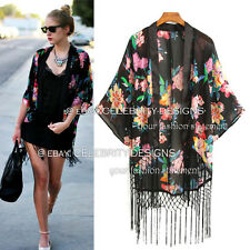 kw3 Celebrity Style Vintage Loose Fit Floral Print Tassel Kimono Crop Wrap Top