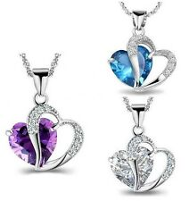 Women 925 Sterling Silver Necklace Chain Amethyst Heart Crystal Pendant A15