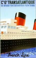 Vintage French Line Trans Atlantic Cruises  Poster A3/A2/A1 Print
