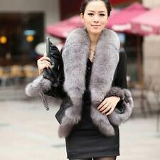 Women Warm Fox Fur Collar Overcoat Faux Leather Slim Fit Jacket Coat Outerwear