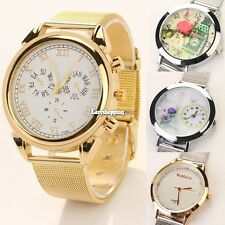 Unique Minimalism Steel Bangle Style Mesh Band Wrist Watch For Women Girl ES9P