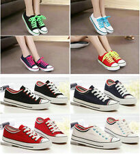 Lady Canvas Rubber Classic Lace Up Plimsoll Sneakers Flat Athletic Running Shoes