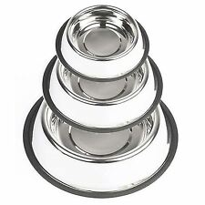 Stainless Steel Cat Dog Drink Bowl Polished finish Durable Non Slip Rubber Grip