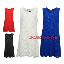 Womens Ladies Sparkly Sequin Sleeveless Xmas Party Swing Dress Plus Size 12-26