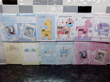 New Baby Birth Christening Greetings Cards Boy Girl Pink Blue~ FREE 1st Cl Post