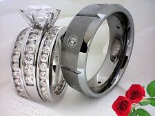 4 in 1 His and Hers,Women (Sterling Silver 925),Men(Tungsten Carbide) #GSR0005-3