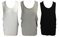NEW WOMENS OPEN BACK CUT OUT SKULL SCOOP SIDE SLEEVELESS VEST TOP SIZE 8-14