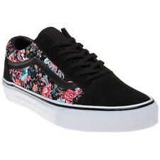 New Womens Vans Multi Black Old Skool Suede Trainers Floral Lace Up