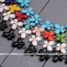 """1X Howlite Turquoise Butterfly Charms Gems Stone Loose Spacer Beads Findings 15"""""""
