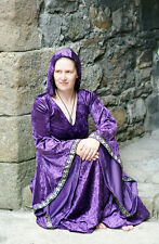Medieval-LARP-Gothic-Cosplay-Wicca-HIGH PRIESTESS PURPLE HOODED PAGAN Dress