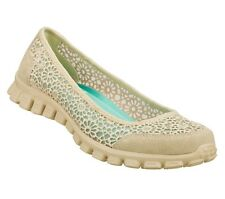 22625 NATURAL SKECHERS SHOES MEMORY FOAM WOMEN SOFT WOVEN CROCHET FABRIC LOAFER