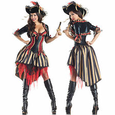 Sexy Womens Fun Body Shaper Pirate Seas Wench Hottie Outfit Halloween Costume