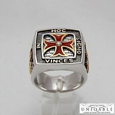 925 Silver Masonic Knight Templar Ring 21 grams Gold Plated, Unique, Handcrafted