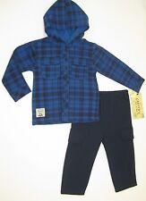 Carters Royal Blue Button Down Plaid Hooded Two Pieces Fleece Set Size 2T 3T 4T