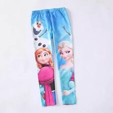 GIRLS FROZEN LEGGINGS/PANTS ANNA, ELSA, OLAF in sizes 4,5,6,7,8,9.... AU STOCK