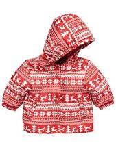 BNWT NEW BABY BOYS OR GIRLS RED FAIRISLE WINTER COAT 0/3 3/6 6/9 PADDED JACKET