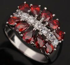 COLORFUL Fashion Jewelry Garnet Gemstones Silver Rings US#Size5 6 7 8 9 T0398