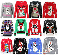 Ladies Men's Jumper Reindeer Knit Sweater Retro Christmas Xmas Novelty Plus Size