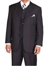 Men's Basic 3 piece Suit with vest Classic Fit Luxurious Wool Feel Black 5802V