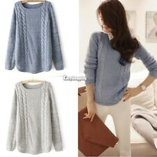 Women's Long Sleeve Knitted Cardigan Round Neck Loose Casual Sweater Jumper