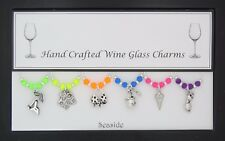 Seaside Set of Wine Glass Charms Wedding Beach Party Travel Hen Party Blackpool