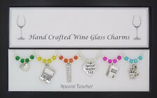 Special Teacher Set of Wine Glass Charms Christmas Present Thank You Gift