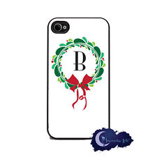 Christmas Wreath Monogram, Letter, Initial - iPhone 4 or 4s, Cell Phone Cover