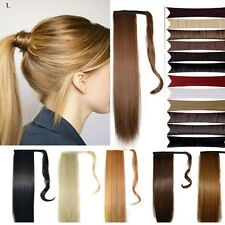 new trendy Wrap Around clip in ponytail hair extensions Straight curly blonde wm