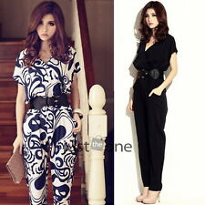 Cool Casual Womens V-Neck Short Sleeve Long Pants Jumpsuit Playsuit + Waistband