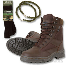 ARMY HALF LEATHER COMBAT PATROL BOOT BROWN CADET WITH TROUSER TWISTS AND SOCKS