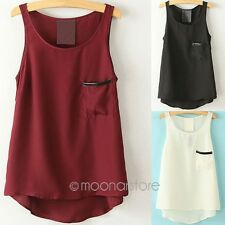 Sexy Women's Summer Casual Sleeveless Shirts Chiffon Loose Vest Tank Tops Blouse