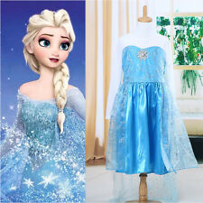 Baby Girls Kids Blue Frozen Elsa Princess Party Christms Tulle Fancy Dress 3-8Y