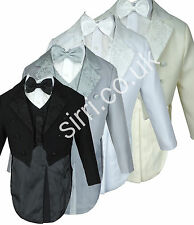 Baby Boys 5 Piece Tuxedo Style Tail Suits, Page Boy Christening Baptism Outfit