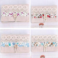 New Women Lady Canvas Flower Business ID Bank Card Pocket Bag Wallet Holder Case