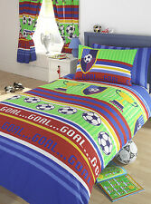 FOOTBALL STRIPES TROPHY GOAL RED BLUE GREEN YELLOW BOYS KIDS BEDDING OR CURTAINS