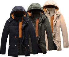 Men's Warm Winter Thick Parka Trench Coat Jacket Hooded Overcoat